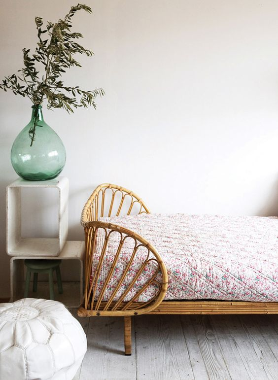 daybed with rattan frame ornate white side table in modern design white ottoman