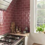 Deep Red Metro Tiled Backsplash In Small Kitchen