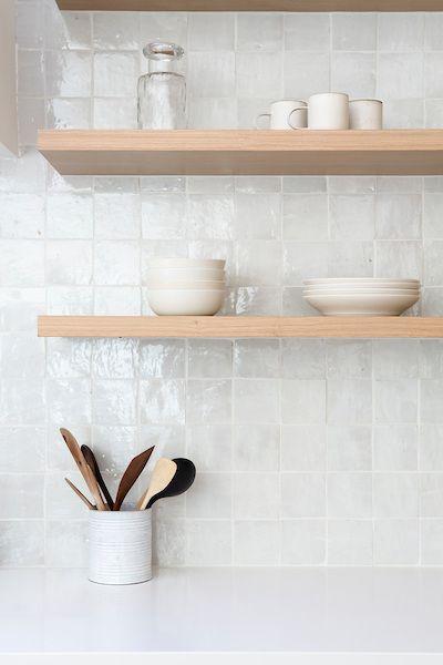 gloss white tiled backsplash idea light wood open shelves for tableware