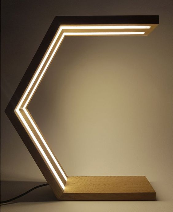 half hexagon wood desk lamp