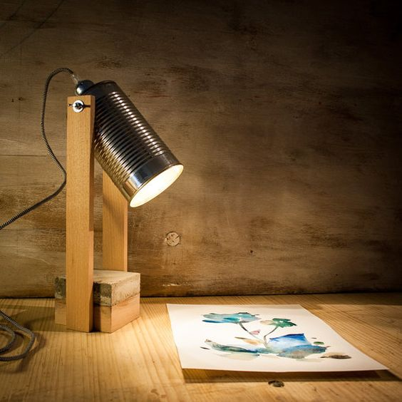 industrial desk lamp with wood frame and metallic headlamp