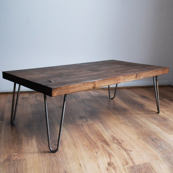 industrial rustic coffee table with hairpin metal legs