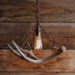 Industrial Rustic Pendant With Old Metal Chain Support And Deer Antler Decoration