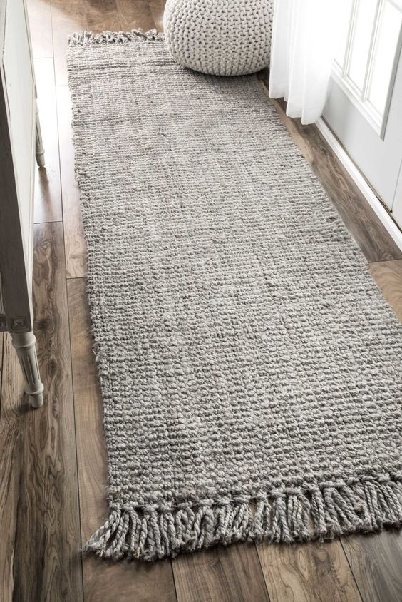 jute runner in gray wood plank floors