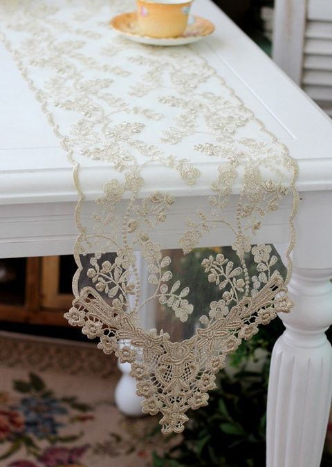 lace table runner with embroidery floral patterns
