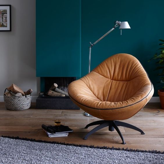 leather lounge chair in brown modern floor lamp
