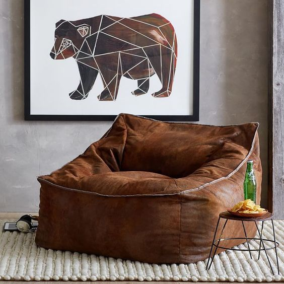 leather lounge chair in earthy brown