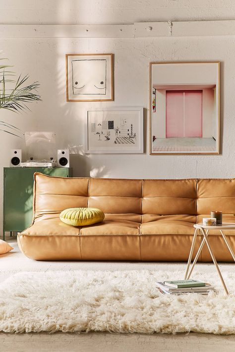 legless sleeper sofa with brown leather finish