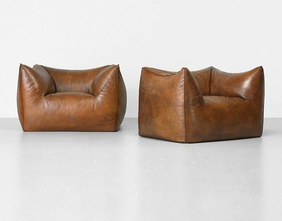 lounge chairs in brown leather