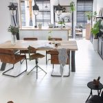 Modern Industrial Dining Room Modern Industrial Dining Furniture Wood Plank Floors In White Cowhide Area Rug Industrial Pendants