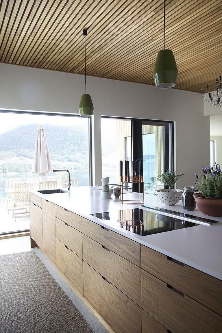 modern minimalist kitchen design wood ceilings green pendants large glass window and door white kitchen countertop wood kitchen cabinets