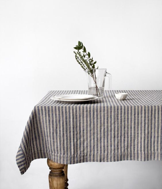 monochrome stripe table cloth