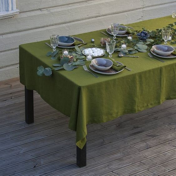 olive green tablecloth