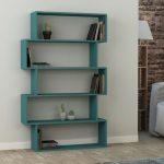 Open Shelves In Blue With Asymmetric Shape
