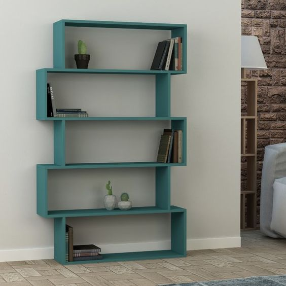 open shelves in blue with asymmetric shape