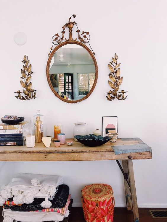 organic wood hallway bench oval shaped wall mirror with classic floral frame