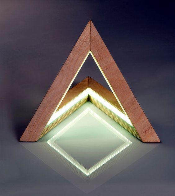 prismatic triangle wood lamp