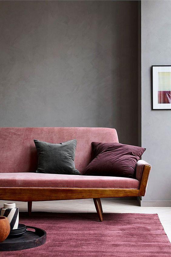 soft velvet area rug midcentury modern sofa with wood frame and purple velvet upholstery