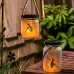 Solar Powered Outdoor Lanterns With Glittered Glass Cover And Beautiful Fairy Inside
