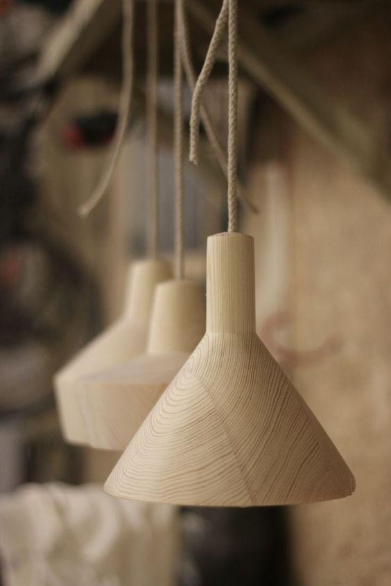 ultra minimalist and light wood pendants in Scandinavian style