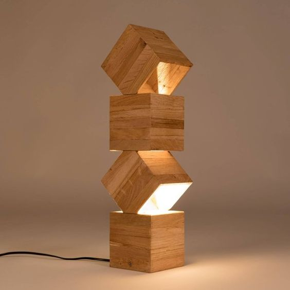 unique wood lamp made of wood boxes in different vertical position