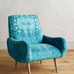 Vintage Armchair With Rug Printed Fabric Cover
