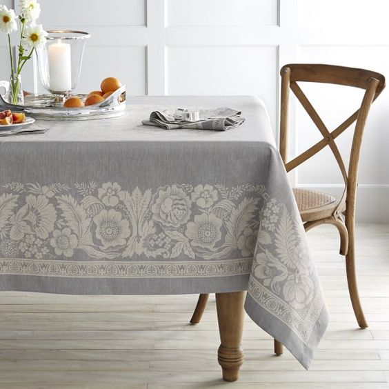 vintage floral patterned tablecloth in soft blue