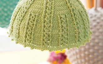 vintage pendant by Ikea with olive green knitted lampshade