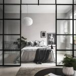 Warm Gray Walls And Floors White Bedding Treatment With Gray Throw Blanket Stunning White Pendant Glass Room Partition With White Trims