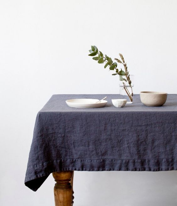 washable linen tablecloth in blue