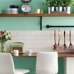 White Vintage Metro Tiles Featuring Green Mint Concrete Walls Dark Wood Open Shelf With Black Metal Supports