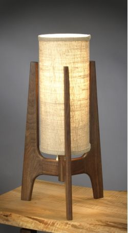 wood desk lamp with natural burlap lampshade cover