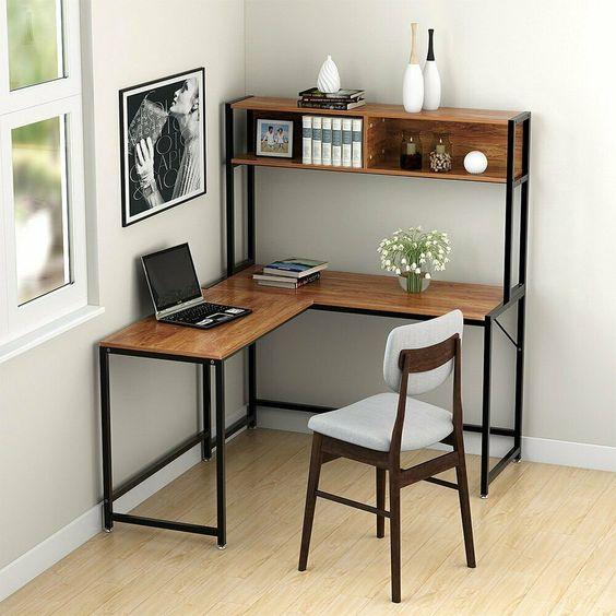 L shaped working desk with shelving unit addition on top dark wood working chair with white cushion