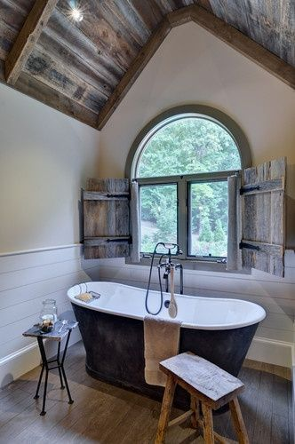attic bathroom design worn out bathtub stools old look wood ceilings old look wood window