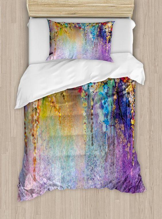 botanical patterned watercolor duvet cover set