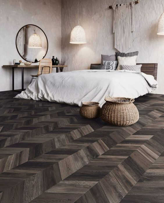 chevron shaped vinyl flooring in wood color