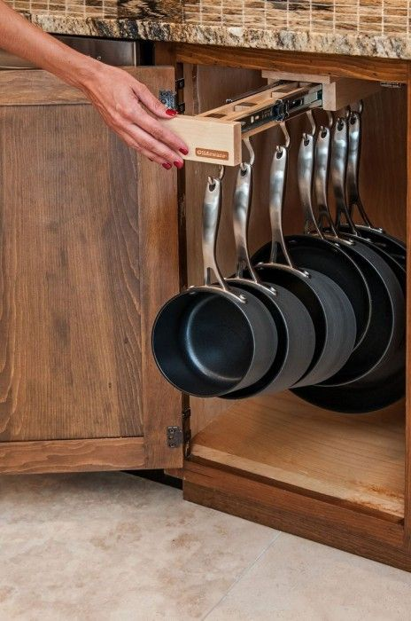 clever storage solution for kitchen utensils