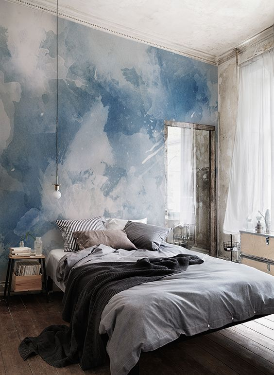 cloud like watercolor mural for walls modern bed furniture gray bed linen black throw blanket black bedside table