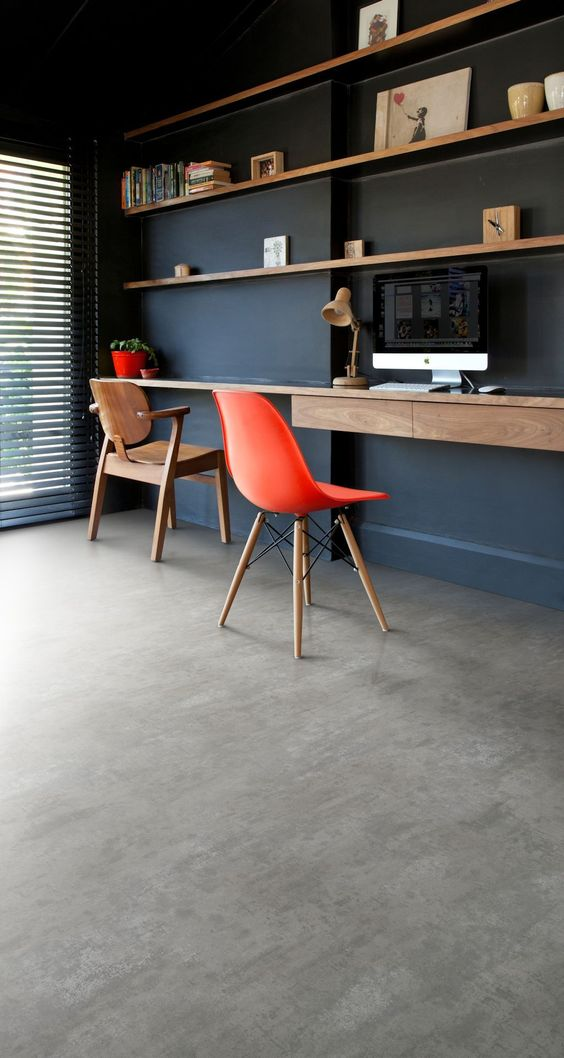 concrete like vinyl flooring idea