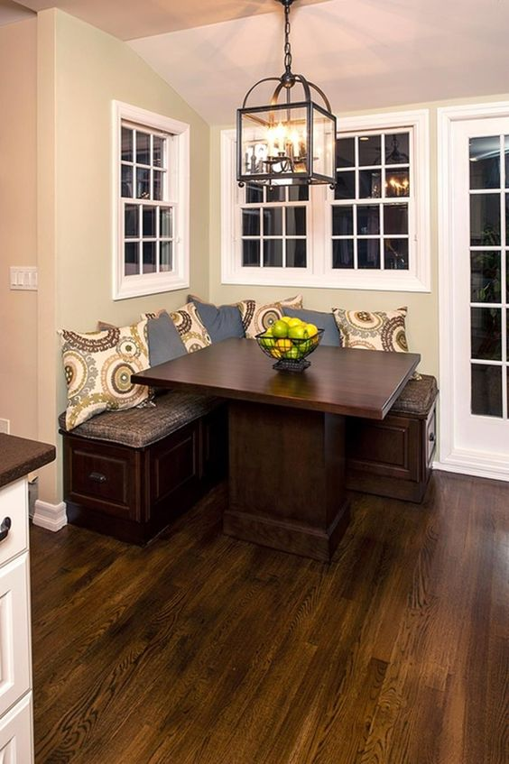 corner breakfast nook dark wood table built in corner bench seat in dark wood