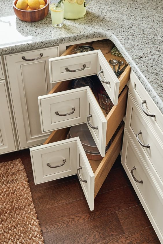 corner pull out cabinets with V shape