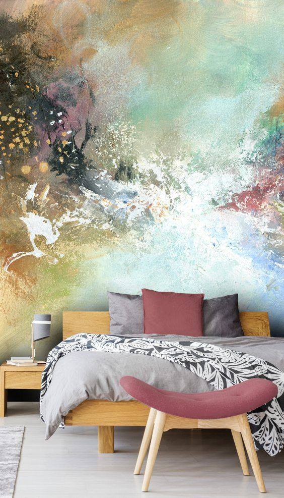 energizing watercolor mural on walls midcentury modern bed frame with headboard midcentury modern bench bed with semi curved cushion in pink