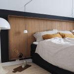 Extra Large Wood Headboard With Black Wood Frame Light Wood Plank Floors White Bedding Treatment