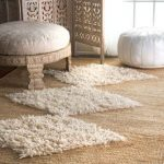 Flatweave Rugs In White Jute Bleached Area Rug Ottoman With White Cushion White Ottoman