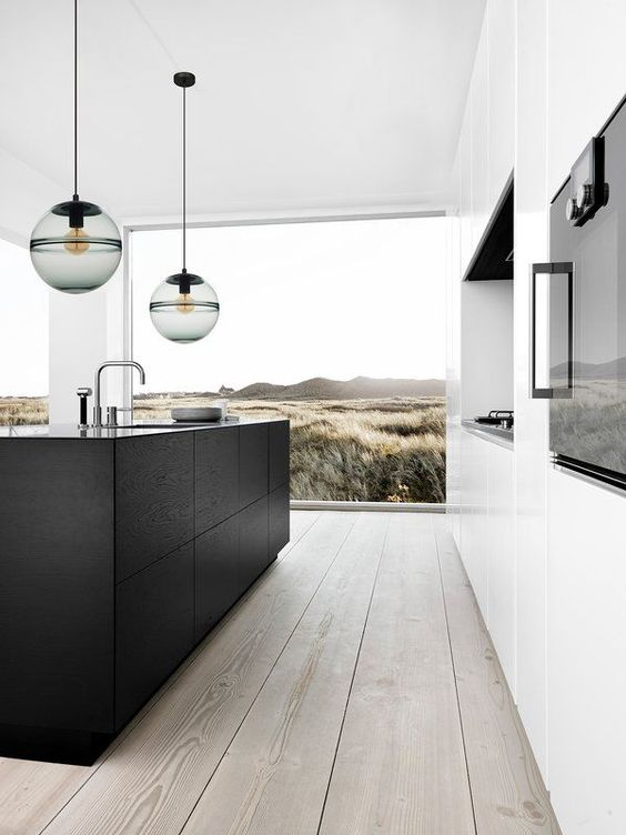 globe pendants clean line kitchen counter in black light wood floors superbly large glass panels