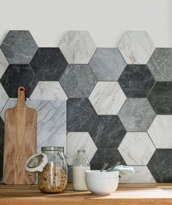 hexagon tiled backsplash in soft neutral color palettes wood countertop