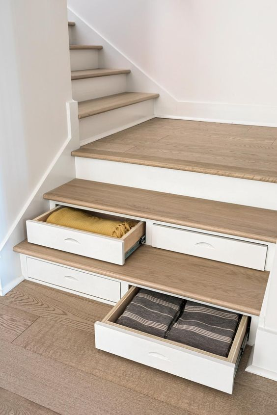 hidden storage solution on staircase