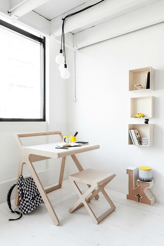 kids' study room ultra light wood study desk x base wood stool made of ultra light wood material ultra light wood wall shelving units