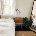 Midcentury Modern Bedside Table Modern Desk Lamp Crisp White Duvet Cover Flat Woven Area Rug