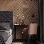 Modern Black Bed Frame With Tufted Heaboard Herringbone Patterned Wood Floors Subtle Herringbone Patterned Wall Decals Black Side Table Dark Earthy Chair